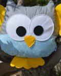 κουκουβάγια γκρι πουά με γαλάζιο