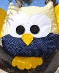 κουκουβάγια μουσταρδί ζιγκ ζαγκ με μπλε πουά