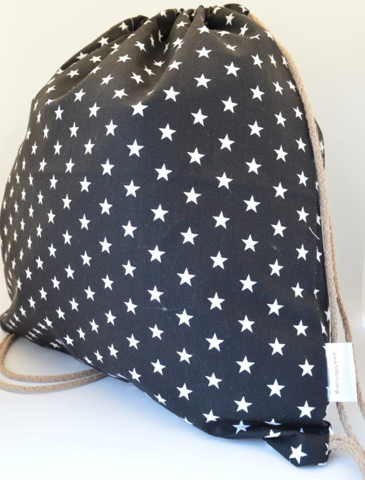 backpack ασπρόμαυρα αστεράκια