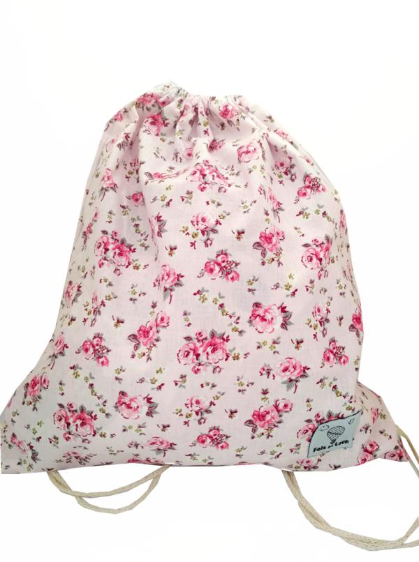τσάντα-πλάτης-με-κορδόνια-φλοραλ-ροζ