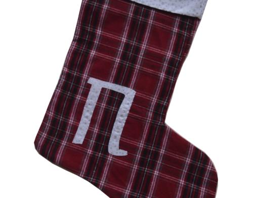 χριστουγεννιάτικη κάλτσα με μονόγραμμα καρω