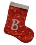 χριστουγεννιάτικη κάλτσα με μονόγραμμα κόκκινη με χρυσά αστεράκια