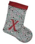χριστουγεννιάτικη κάλτσα με μονόγραμμα μπεζ με γκι