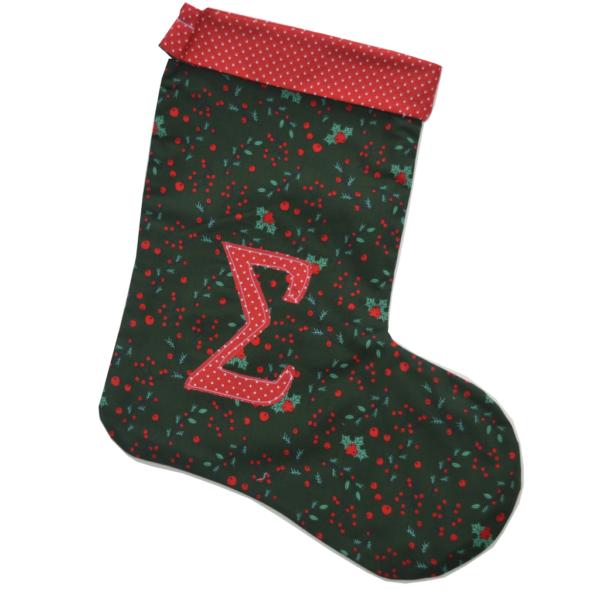 χριστουγεννιάτικη κάλτσα με μονόγραμμα πράσινη με γκι