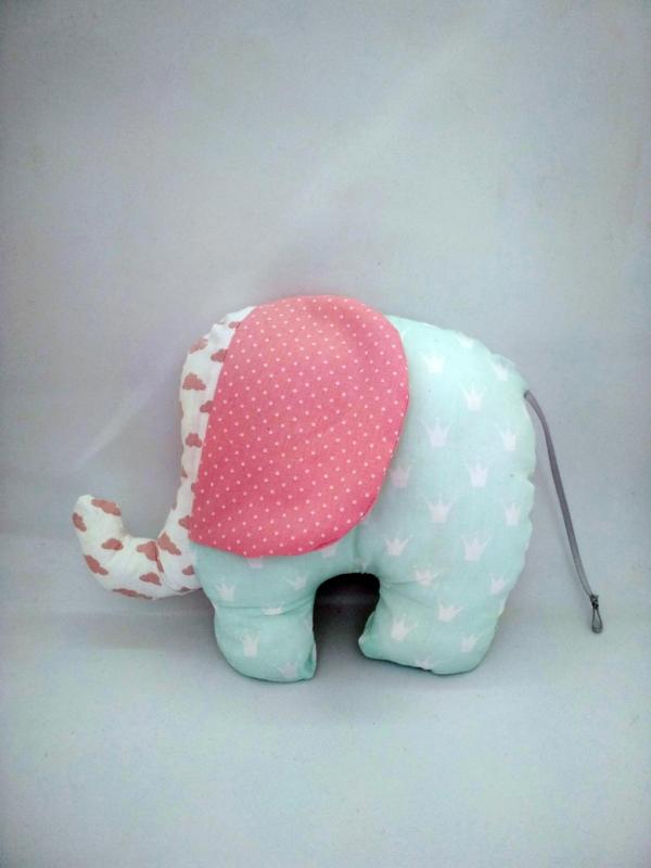 ελεφαντάκι κουκλάκι μικρό ροζ με βεραμαν a