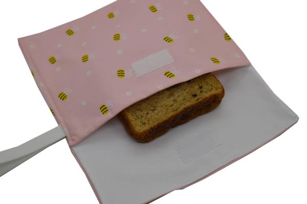 υφασμάτινη θήκη για αποθήκευση κολατσιού, για το γραφείο και το σχολείο, σε ροζ φόντο με μελισσούλες