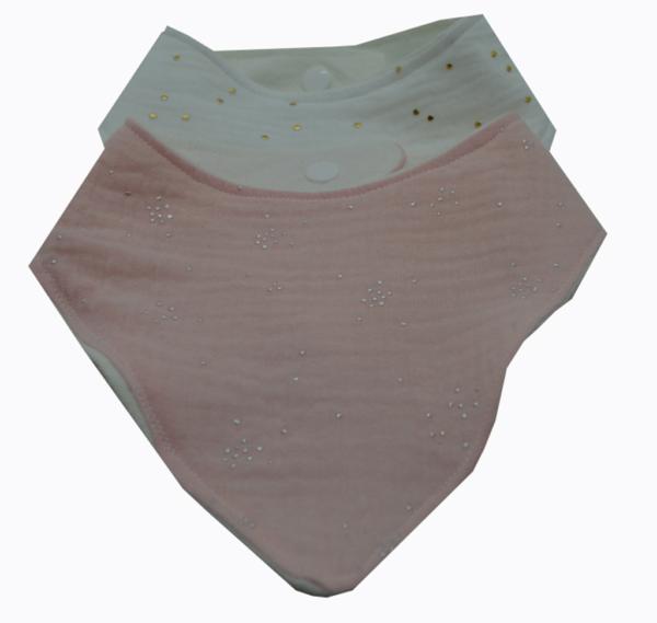 σετ σαλιάρες από μουσελίνα σε ροζ και λευκό 3a 2