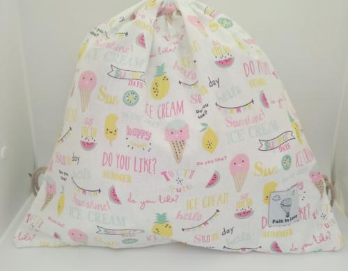 τσάντα πλάτης με κορδόνια παγωτά