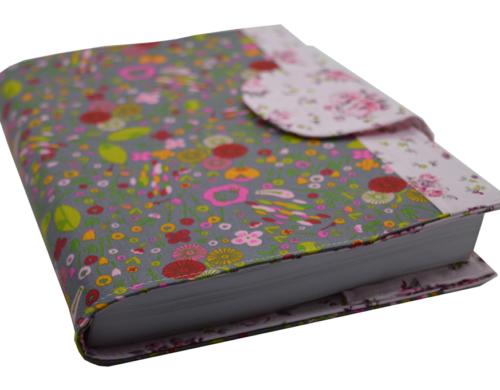 Θήκη βιβλίου γκρι με πολύχρωμα λουλούδια 2
