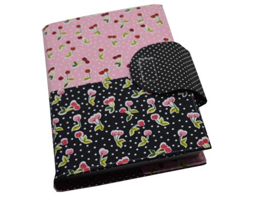 Θήκη βιβλίου κερασάκια ροζ και μαύρα 1