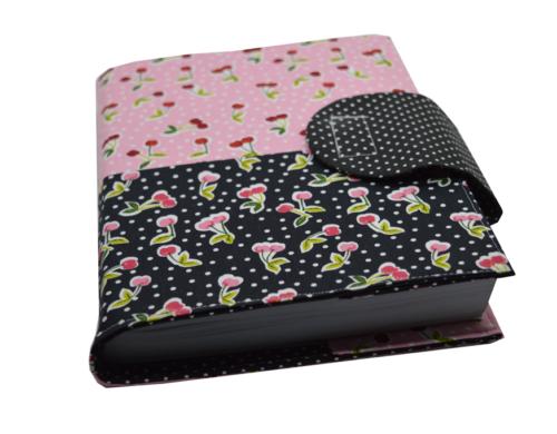 Θήκη βιβλίου κερασάκια ροζ και μαύρα 2