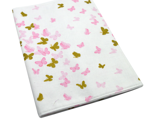 Θήκη βιβλιαρίου υγείας πεταλούδες ροζ και χρυσές 1