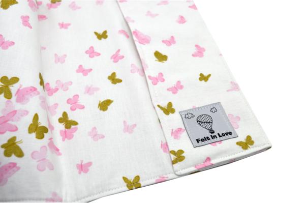 Θήκη βιβλιαρίου υγείας πεταλούδες ροζ και χρυσές