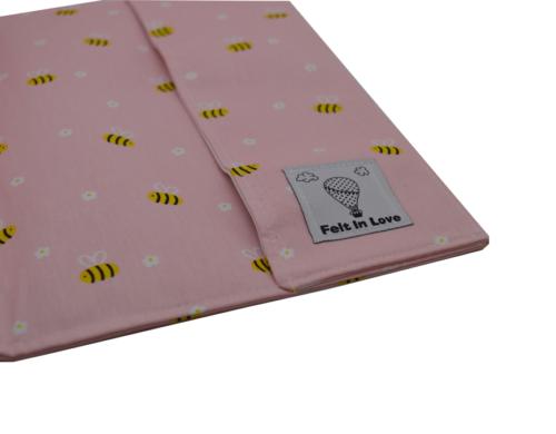θήκη βιβλίου ροζ με μελισσούλες 2