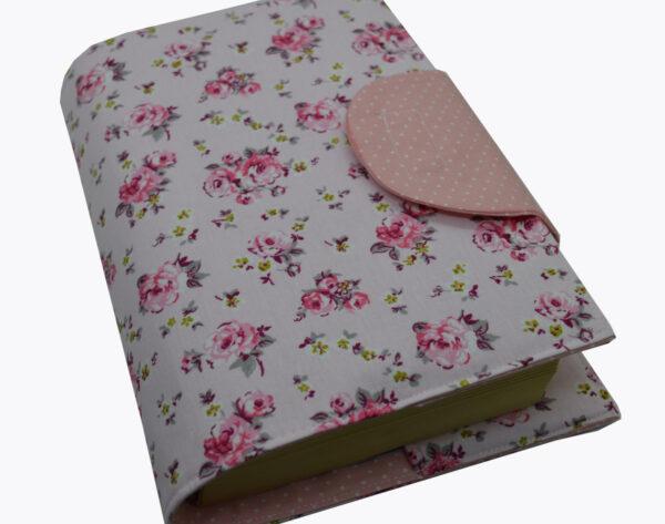 θήκη βιβλίου ροζ με τριαντάφυλλα