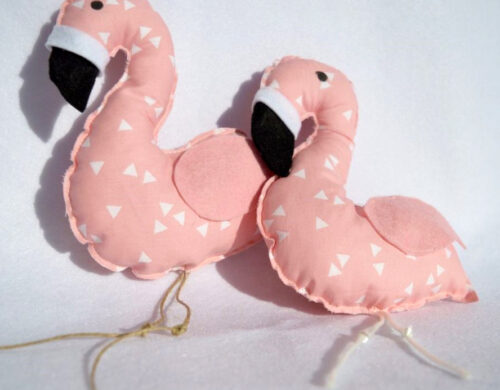 flamingo bonbonier pair