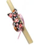 πασχαλινή λαμπάδα κουνελάκι φλοραλ μαύρο