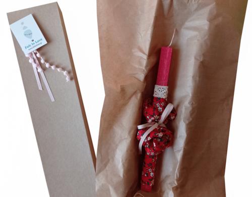 πασχαλινή λαμπάδα κόκκινη φλοραλ με scrunchies