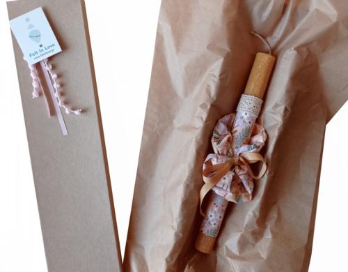 πασχαλινή λαμπάδα ροδακινί φλοραλ με scrunchies