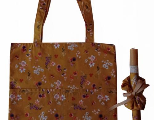 πασχαλινή λαμπάδα με τσάντα και scrunchies φλοραλ ώχρα