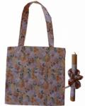 πασχαλινή λαμπάδα με τσάντα και scrunchies φλοραλ ροδακινί