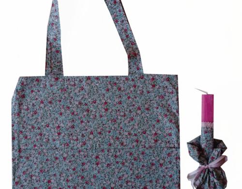 πασχαλινή λαμπάδα με τσάντα και scrunchies φλοραλ μέντα