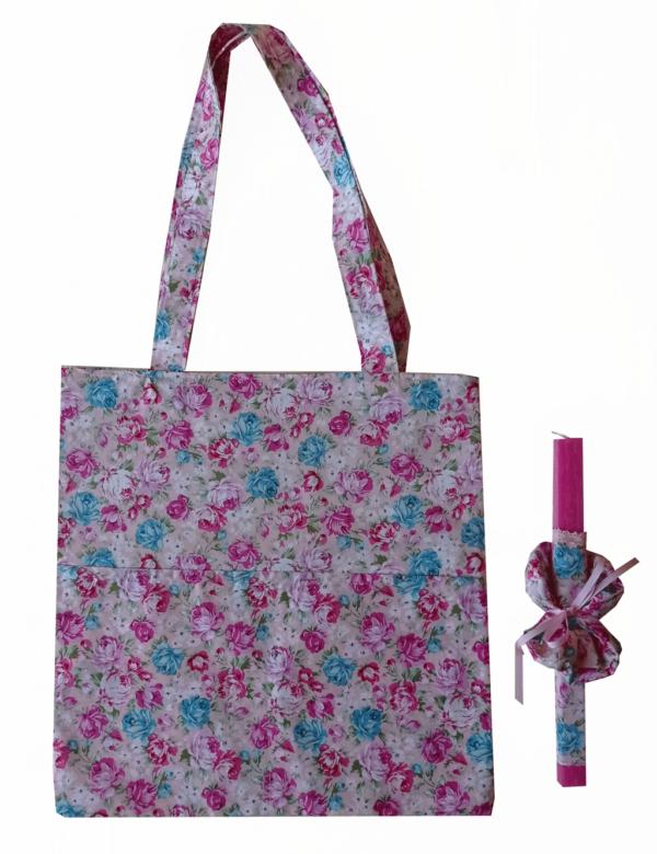 πασχαλινή λαμπάδα με τσάντα και scrunchies φλοραλ ροζ-γαλάζια