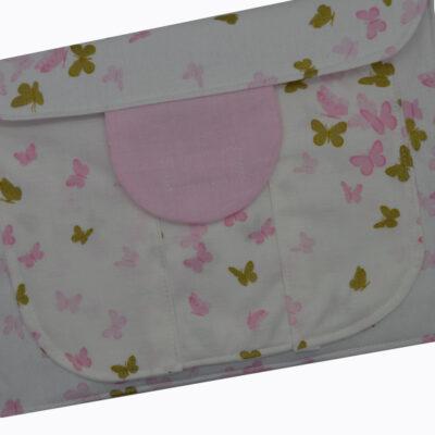 θήκη για πάνες με πεταλούδες ροζ και χρυσές2a 2