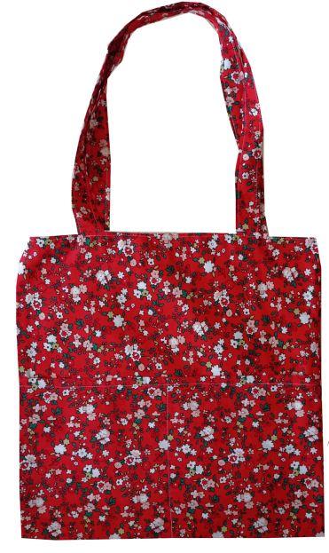 tote τσάντα κόκκινη φλοραλ